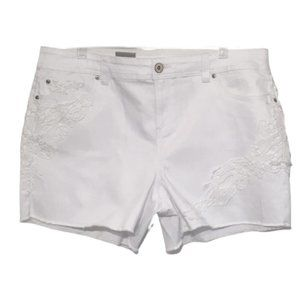 INC White Jean Shorts Crochet Frayed Cut Off 18